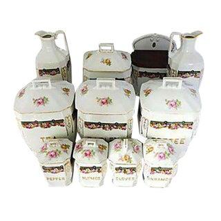 Vintage Porcelain Floral Spice Set - Set of 11