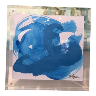 Lucite Framed Blue Abstract Painting