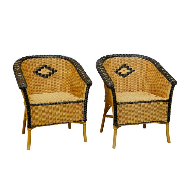 French Grange Style Rattan Club Chairs - A Pair - Image 1 of 7