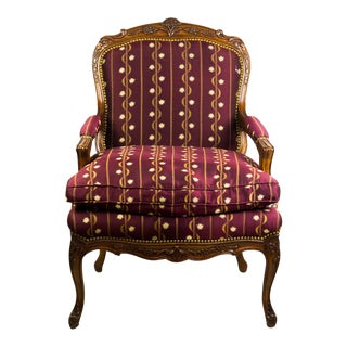 Baker French Style Upholstered Burgundy Walnut Bergere Armchair