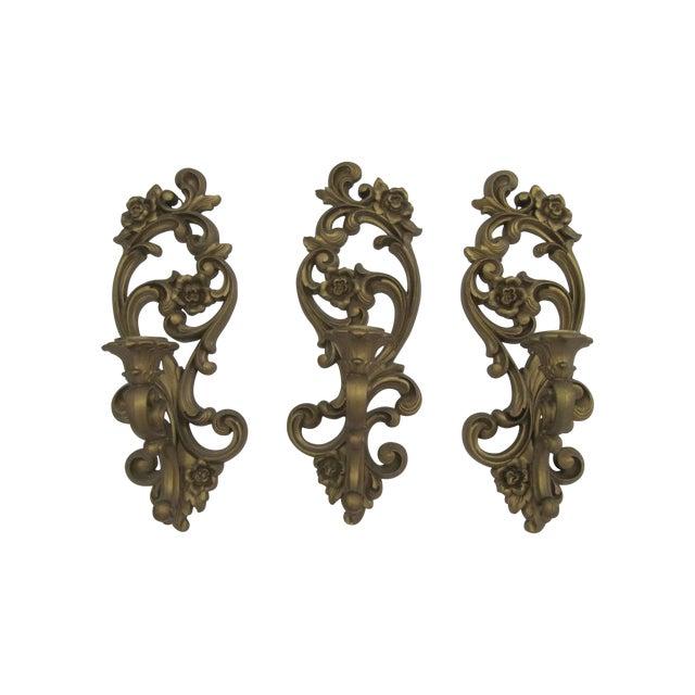 Homoco Gold Candle Sconces - Set of 3 - Image 1 of 6