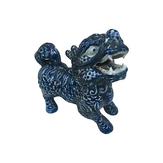 Image of Blue & White Foo Dogs - A Pair