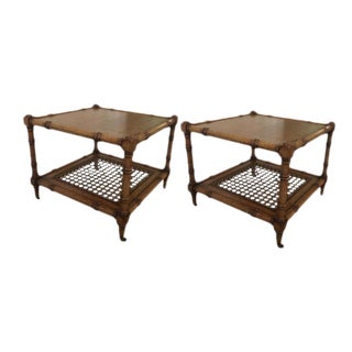 Boho Walnut Cocktail Tables - A Pair