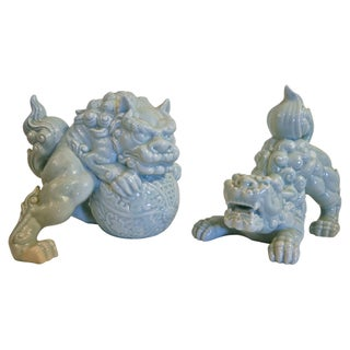 Crouching Porcelain Foo Dogs - A Pair