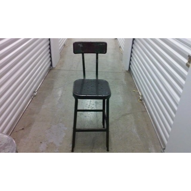 Antique Industrial Black Metal Stool - Image 3 of 5