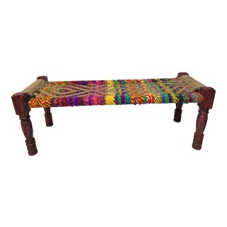 Vintage Woven Handcrafted Jute and Fabric Rope Bench