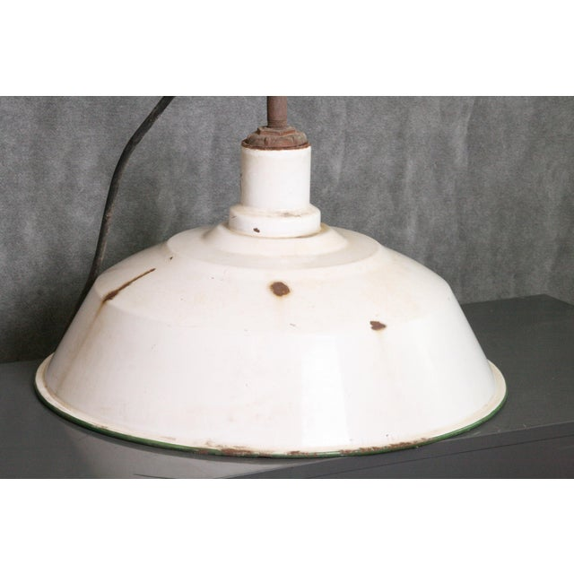 Vintage Industrial White Porcelain Ceiling Light Fixture - Image 3 of 11