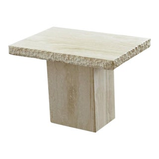 Maurice Villency Travertine Side Table with Sculpted Rough Edges and Polished Top Surface