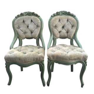 Velvet Tufted Parlor Chairs - A Pair