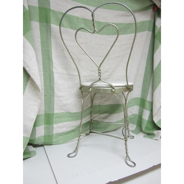 Vintage Metal Ice Cream Parlor Chair with Heart - Image 5 of 10
