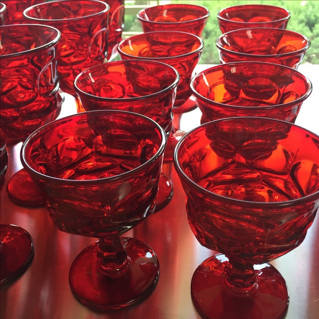 Image of Fostoria Red Glasses - Set of 27