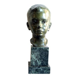 A Beautifully Rendered American 1940's Bronze Bust of a Young Boy; by JG Kendall
