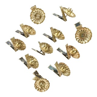 Gold Metal Christmas Tree Clip-On Candle Holders - Set of 11