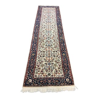 "Hand-Knotted Oriental Runner with Fringes -- 2'5"" x 9'1"""