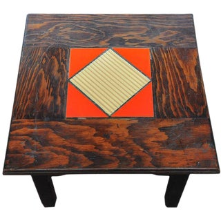 Arts & Crafts Oak Side Table With Center Tiles