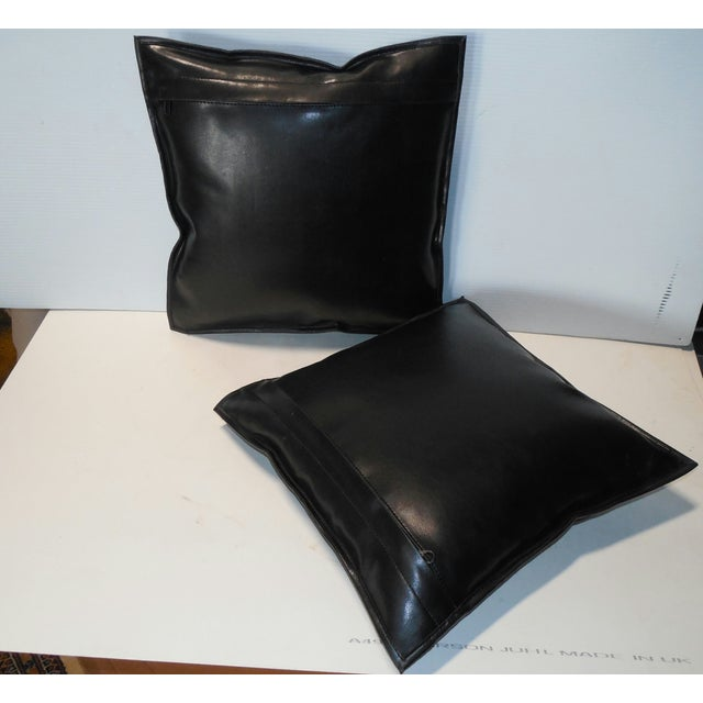 Black Calf Hide & Leather Pillows - a Pair - Image 5 of 6