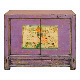 Chinese Distressed Purple Flower Graphic Table Cabinet cs2026C