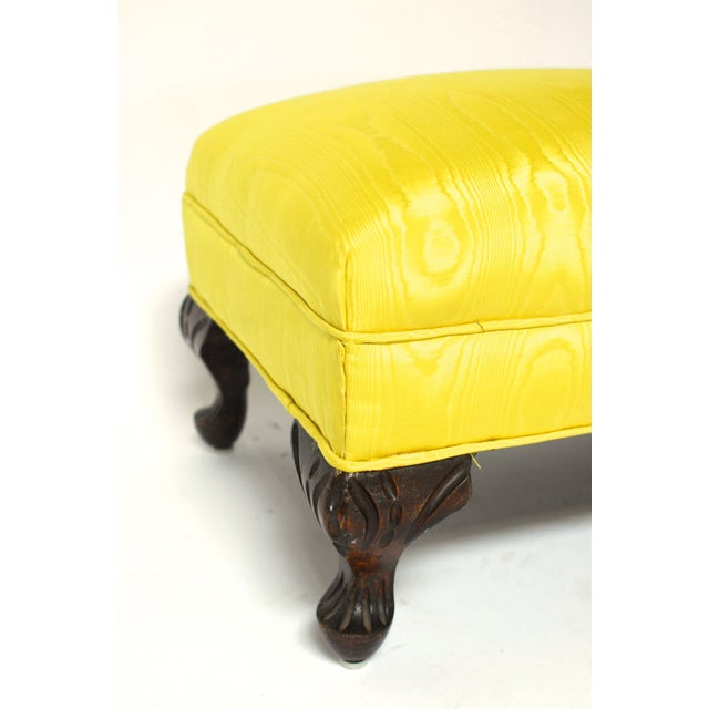 Image of Vintage Carved Yellow Ottoman with Cabriole Legs