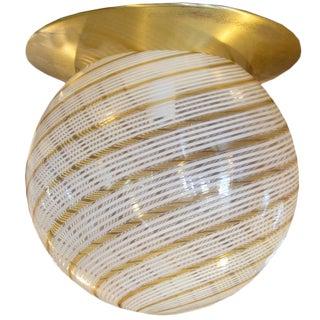 Italian Mid-Century Brass and Glass Light Fixture