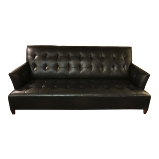 Sleek Italian Black Leather Donghia Sofa
