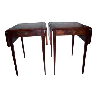 Antique Leather-Top Extension Tables - A Pair