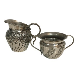 Silver Sugar & Creamer Set - A Pair