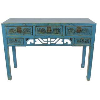 Antique Hand-Carved Blue Desk