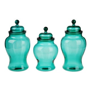 Vintage Glass Ginger Jar Style Lidded Vases - Set of 3
