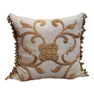 Pair of Antique Gold Appliqued Linen Pillows