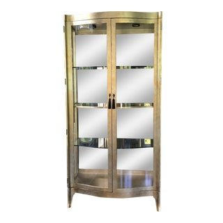 Henredon Illuminated Bowed Glass Cabinets - A Pair