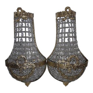 French Empire Glass Swag & Bow Sconces- A Pair