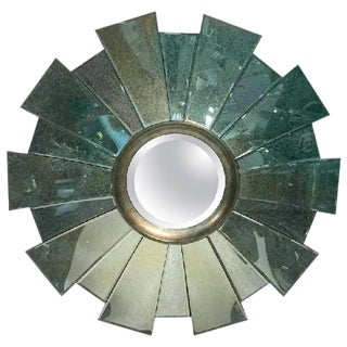 21ST CENTURY CUSTOM SUNBURST WALL MIRROR WITH RADIATING MIRRORED PIECES