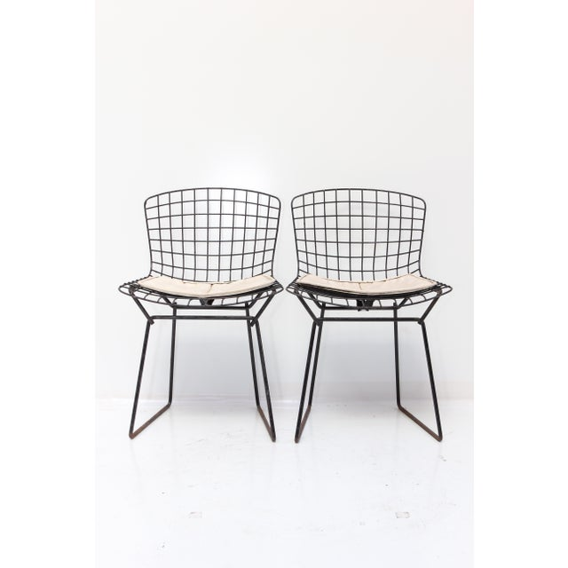 Knoll bertoia child size chairs black ivory pair chairish for Kid sized furniture