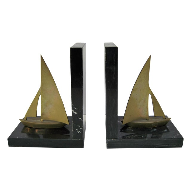 Mid-Century Brass Sailboat Bookends - Pair - Image 1 of 9