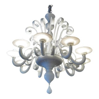 Murano 10-Light White Chandelier