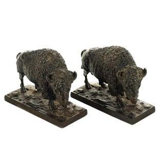 Antique Bronze Buffalo Bookends - A Pair