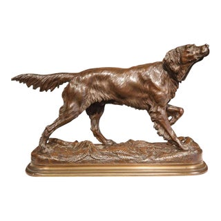 19th Century French Patinated Bronze Pointer Dog Sculpture Signed J. Moiniez