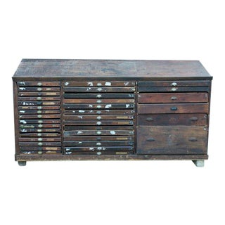 Vintage French Printer's Cabinet