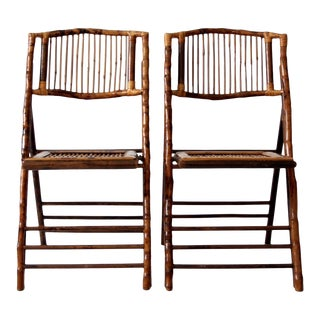 vintage bamboo folding chairs set of 2