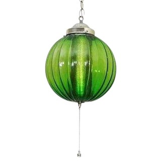 Mid-Century Modern Green Glass Hanging Chandelier