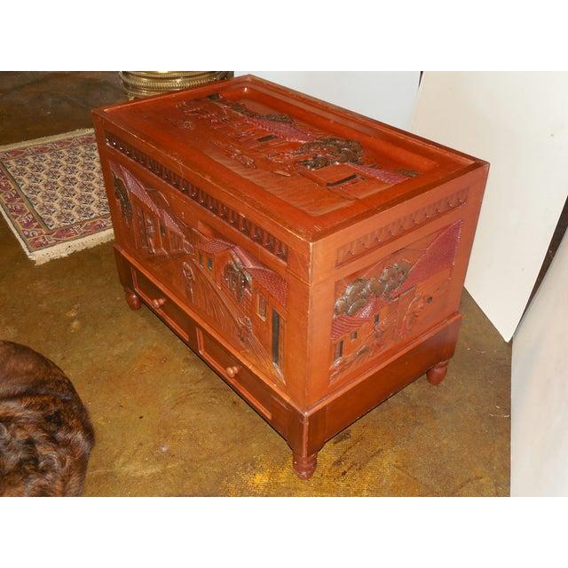 Honduran Carved Mahogany Trunk - Image 4 of 8