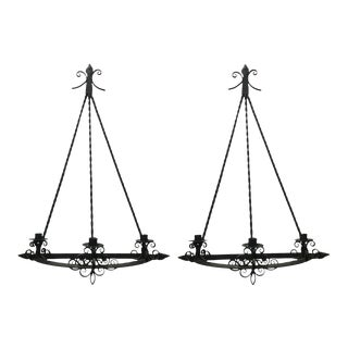 Pair of Antique Architectural Gothic Victorian Wrought Iron Candle Wall Sconces