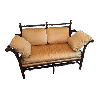 Wood-Framed Gold Satin Upholstered Settee