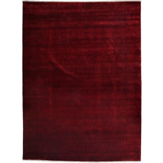 "Red Overdyed Hand Knotted Area Rug - 9'1"" X 12'1"""