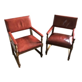 English Barley Twist Red Leather Armchairs - A Pair