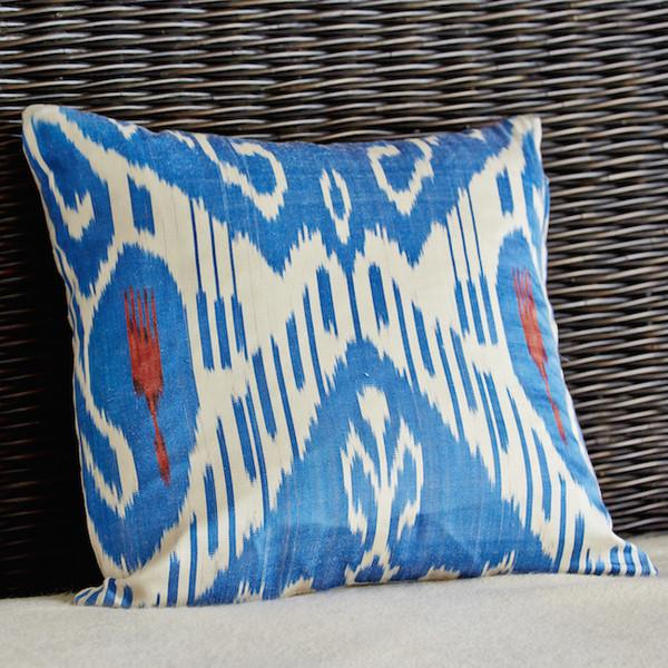 Image of Blue Ikat Pillow Covers - A Pair