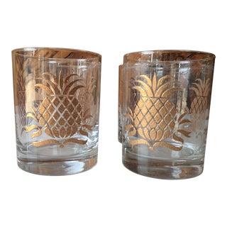 Mid Century Gold Pineapple Rocks Glasses - Set of 4