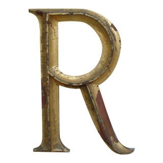 "19th C. Gilded Cast Iron Letter ""R"""