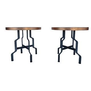Industrial Steel Table W/ Copper Leaf Tops - Pair