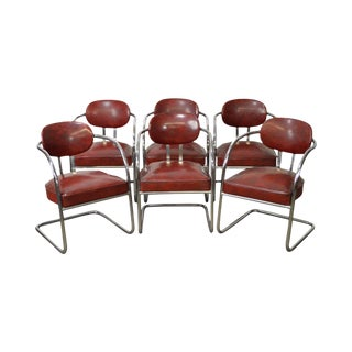 Art Deco Set of 6 Chrome & Red Vinyl Dining Chairs